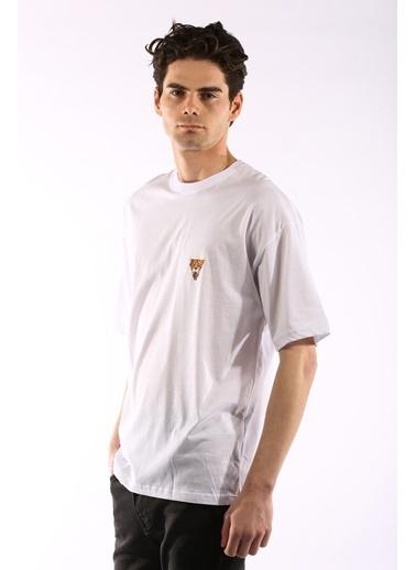 Rodrigo 3866 Aslan Baskı Oversize Erkek T-Shirt Beyaz